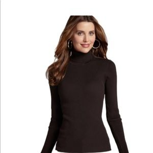 Chico's Choco Brown Ribbed Silk Blend Turtleneck